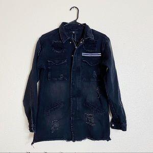 Missguided Distressed Longline Denim Jacket